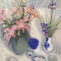 Lilies and irises(triptych 2)