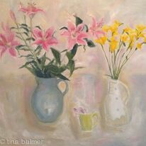 Stargazers and yellow freesias