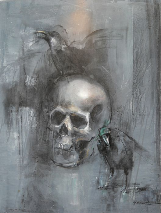 crows with scull