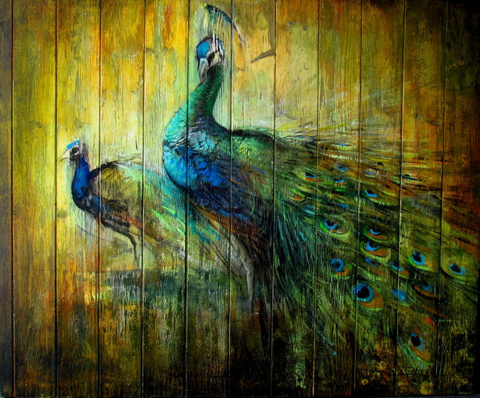 peacocks on panel