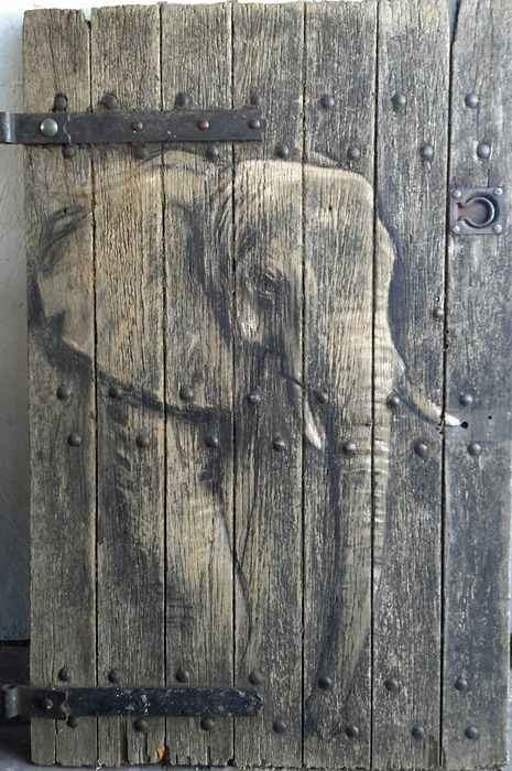 elephant on pub cellar door