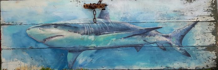 shark on rusty door