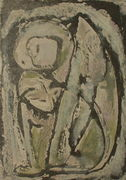 Seated Figure, Cat and Bird