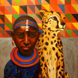Samburu Girl with Cheetah