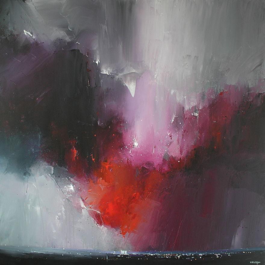 Big Red Storm - Acrylic on Box Canvas