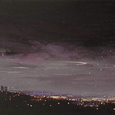 City Lights At Dawn, Sheffield From Ringinglow