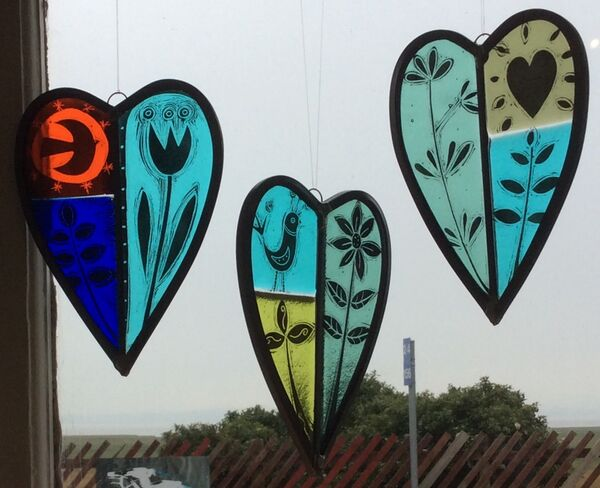 Painted leaded heart panels
