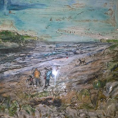 Walkers on a Windy Beach  by Sally Toms