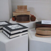 Shaker boxes Keith Shorrock with Handmade books by Elizabeth Shorrock
