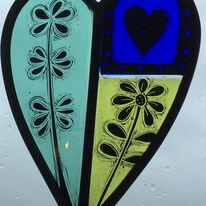 Painted and leaded heart panel