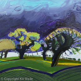 Golden Trees: Purple Sky