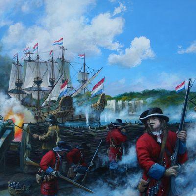 Spragge's Battery firing on the Dutch