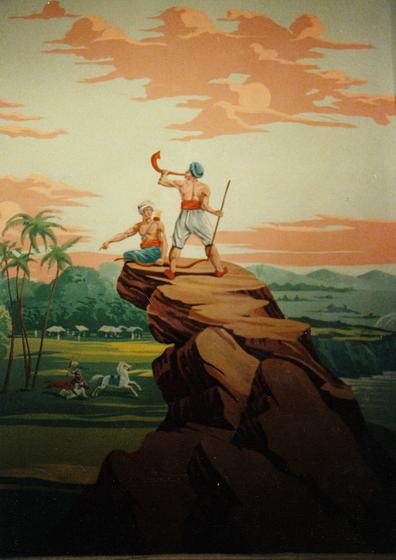 Raj Mural based on old woodcut wallpaper