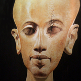 Egyptian bust painted onto silk