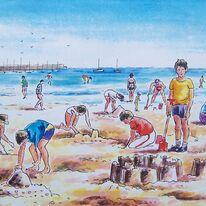 Children on the beach, Alderney
