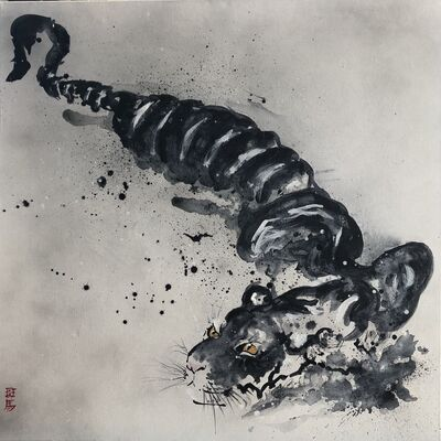 Chinese Tiger, gesso, pigment and tempera