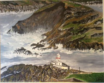 Ex Hurricane Ophelia at Valentia lighthouse Co Kerry -BEING FRAMED