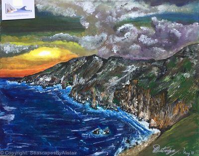 NEW- Slieve League cliffs at sunset