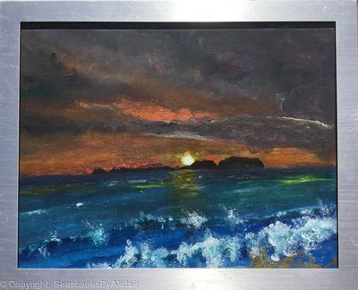 Sunrise over Rathlin Is and Sheep Is From Ballintoy Co Antrim-BEING FRAMED