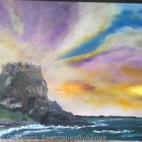 Dunluce Castle during Evening Twilight - SOLD