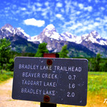 Bradley Lake sign foreground