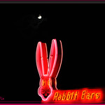 Rabbit Ears Motel sign below a FULL moon