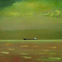 Ship under a green sky