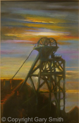 sunset over the mine