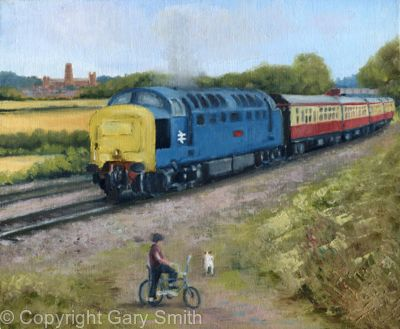 A Deltic passes through Durham