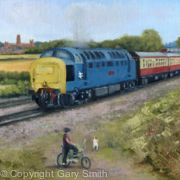 A Deltic passes through Durham