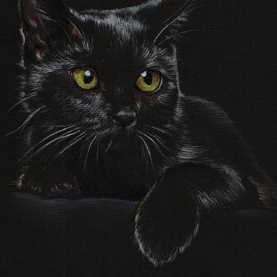 Black Cat portrait Pet painting Cat drawing Animal portrait Cat lovers Original pastel portrait Personalized cat art