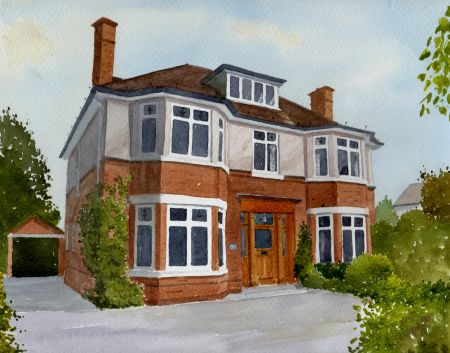 A Cheshire House Portrait Watercolour