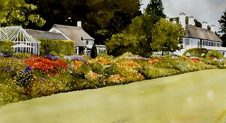 Cheshire House And Gardens In Watercolour Watercolour