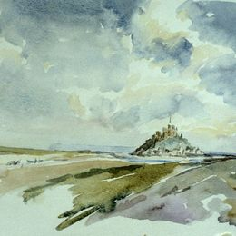 Mont Saint-Michel, Normandy watercolour