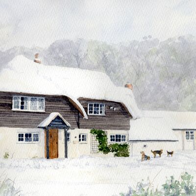 Snowy Clapboarded House