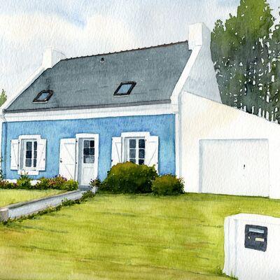 Belle Ile-en-mer home in watercolour