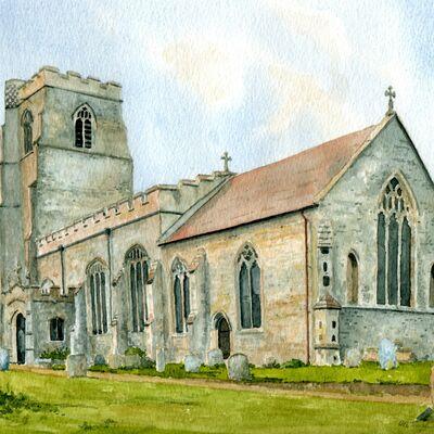 Stansfield Church, Suffolk in Watercolour