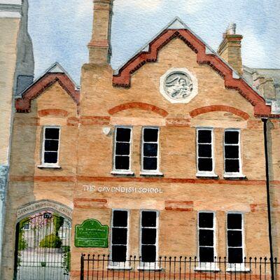 The Cavendish School, London.  Watercolour