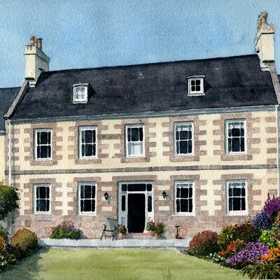 A Jersey farmhouse in watercolour