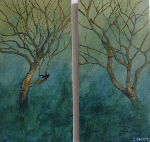 The blackbird and the apple diptych