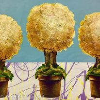 THREE TOPIARY TREES