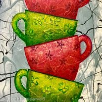 RED AND GREEN TEACUPS