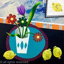 LEMONS & FLOWERS IN A VASE