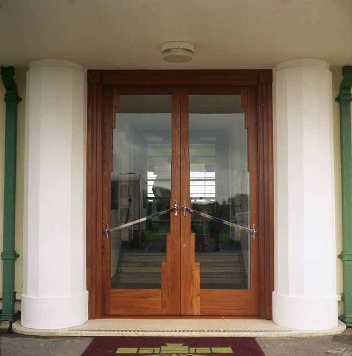 Art Deco Style Doors Solid Teak Chromed Steel Glass