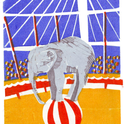 Circus elephant on ball