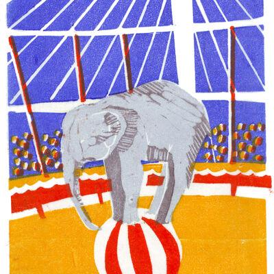 Circus elephant on ball