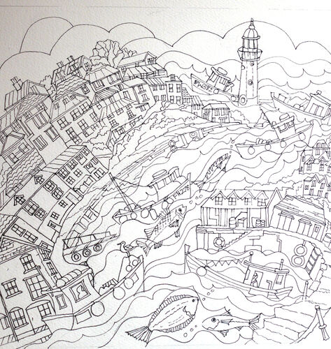 the initial ink drawing for Mevagissey