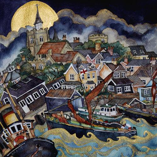 old timbers creak as moon rose high,golden light on rolling waves,Maldon Quay