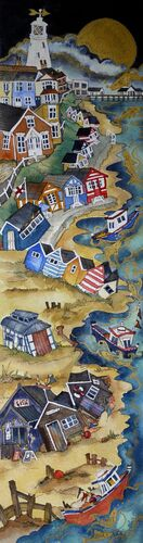 they sailed the shore past old timbers and candy stripe huts then took to the seas under a golden moon, Southwold