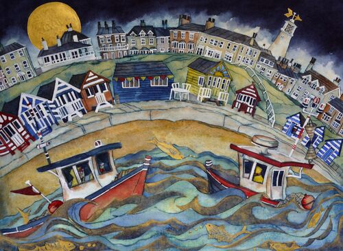 they sailed again to deserted prom then took to the seas with the golden fish. Southwold